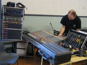 Photo of Tony setting up at the Painswick Centre